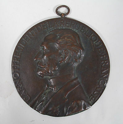 Antique 1887 Bronze French Commemorative Medal Plaque to Honor President Carnot