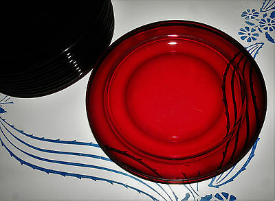 "Vintage Arcoroc France Ruby Red Classique 7 1/2"" Salad Sandwich Plates"