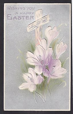Circa 1912 Vintage Postcard - Wishing You A Happy Easter - Lilies With A Cross