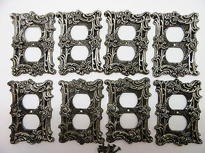8 Vintage Brass American Tack & Hardware Gothic Rose Outlet Plate Covers 1960s