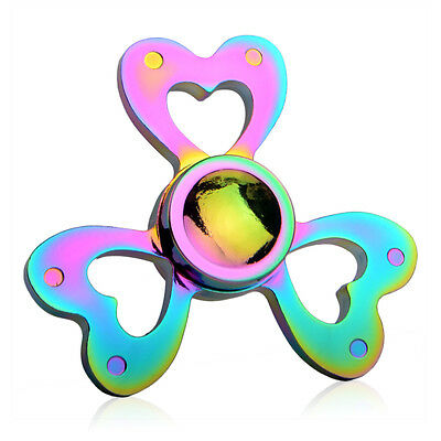 Rainbow EDC Hand Spinner Tri Fidget Focus Desk Toys ADHD Gyro Adults Kids UK