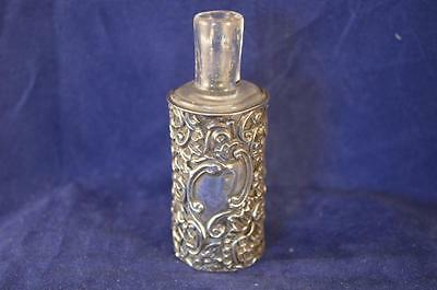 Nice Victorian Clear Glass Scent Bottle With Silver Sleeve