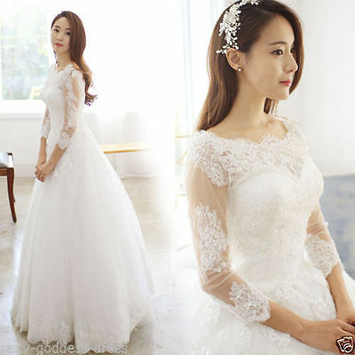 New White/Ivory Lace Bridal Gown Wedding Dress Custom Size 6 8 10 12 14 16 18