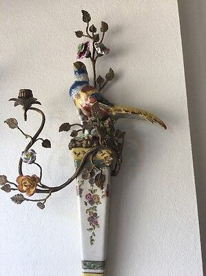 Beautiful Bird Porcelain Wall Sconce