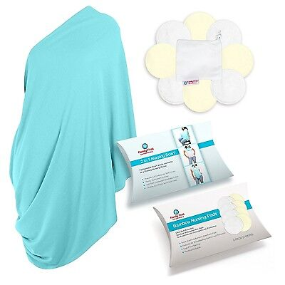 Family First Breastfeeding Cover and Organic Bamboo Nursing Pads (8 pack) Gif...