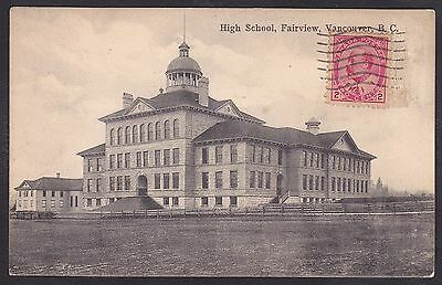 Circa 1907 Vintage Postcard High School FAIRVIEW, VANCOUVER, British Columbia