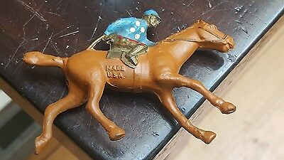 Vintage Jockey on Horse Metal Made in USA