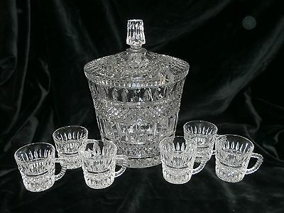 Beautiful Unusual Vintage Heavy Cut Crystal Punch Bowl With Lid & 6 Cups
