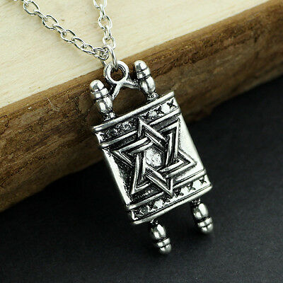 Jewish Hebrew Sefer Torah Scroll Religious Pendant Necklace With Star of David
