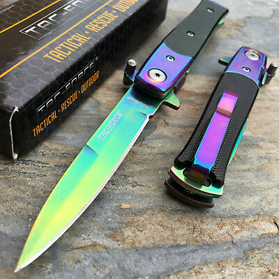 TAC-FORCE Spring Assisted Small Milanos Style Rainbow Blade Knife