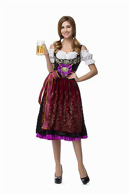 German Bavarian Alps Dirndl Dress Women Oktoberfest Beer Girl Costume
