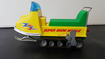 Vintage Durham Super Snow Mobile Snowmobile Wind Up Toy 1960's With Tracks