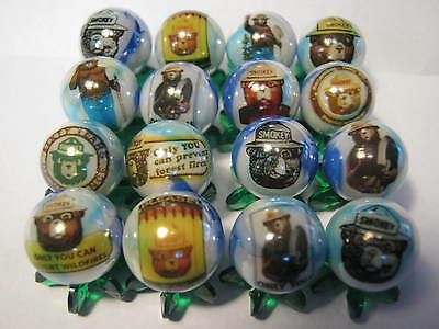 """SMOKEY THE BEAR 5/8"""" GLASS MARBLES COLLECTION with stands"""