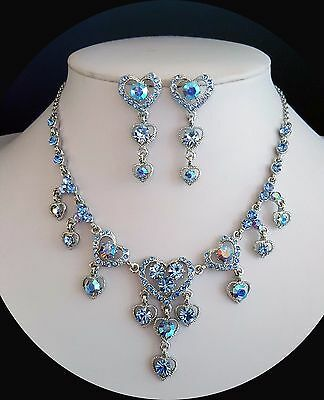 HEART Necklace/Earrings Set Sapphire Crystals Wedding Jewelry Bridal Set N3011A