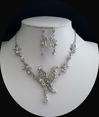 Vintage Butterfly Necklace & Earrings Set Clear Crystals Bridal Jewelry N3024
