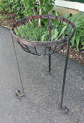 "Vintage Large Cast Iron Garden Planter Stand - 24"" x 14"" -Pot Yard Decor Metal"