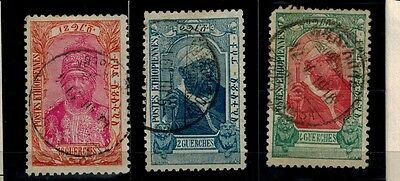 ETHIOPIA STAMPS. Sc. 93, 90 AND 91 USED. VERY NICE.
