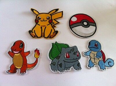 Pikachu,PokeBall,Squirtle,Bulbasaur,Charmander: Iron on or Sew on patches badge