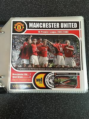 Official Manchester United Fa Premier League Victory Cards Collection 2002-2003