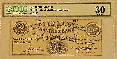 1862 $2 City of Mobile Savings Bank, Mobile, Alabama Note PMG 30 Very Fine