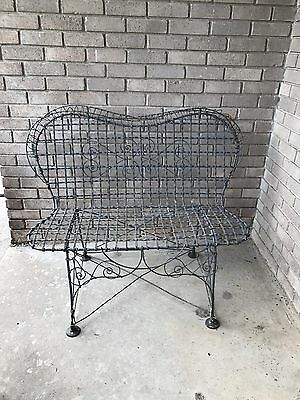 Victorian French Double Wire Iron Garden Patio Settee Bench Rare 1870s