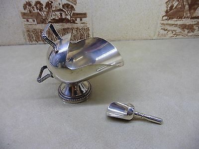 Vintage Silver Plated Salt /Sugar Scuttle and Spoon