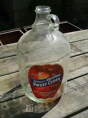 Vintage Spielmanm's Apple Cider 1 Gallon Glass Jug Container Benton Harbor, MI