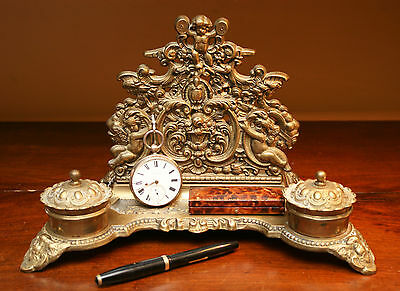 Beautiful Solid Brass Cherubic Desk Stand and Letter Rack