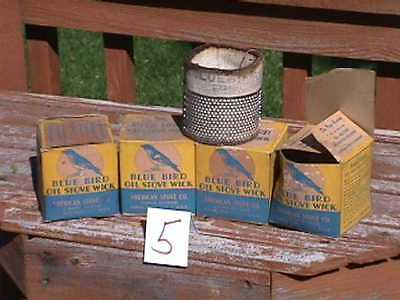 4 BLUE BIRD Oil STOVE WICKS in Original BOXES-NOS new old stock AS IS  (lot 5)