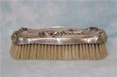 Antique Sterling Silver Clothing Vanity Brush with Art Nouveau Woman in Relief