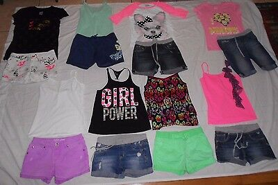 Girls Size 14 Justice Shorts & Shirts Outfits Lot