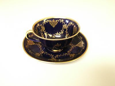 Antique Cobalt Blue And Gold Teacup And Saucer From Bavaria-Lindnet