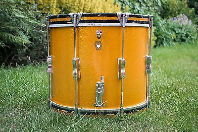 Vintage 1966 Ludwig Keystone Gold Sparkle 15 x 10 Marching Parade Snare Drum