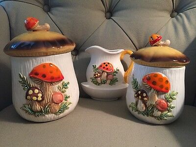 Two Merry Mushroom Canisters / Wall Mount Pitcher Accessory Vintage 70's