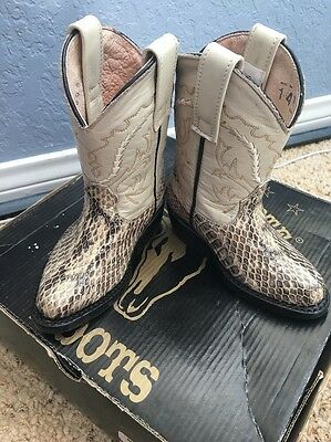 Lejanoeste Kids Cowboy Boots Adorable Snakeskin Leather Nib Cute!