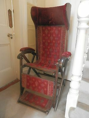 Antique Victorian Officers Mahogany and Carpet Campaign Chair, Glasgow