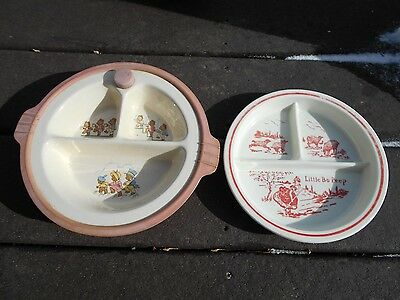 2 vintage ceramic baby/child's divided warming plate/dish - Transferware Bo Peep