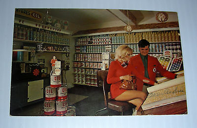 CIL paints 1970 french Canada promo ad postcard red suits Kitsch Quebec Carbide