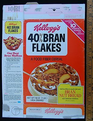 [ 1980 Kellogg's Bran Flakes - Vintage Cereal Box - Banana Nut Bread ]