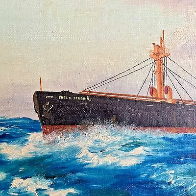 "WWII ""Liberty Ship"" USS FRED C. STEBBINS Oil Painting STEAMSHIP MARITIME c.1947"