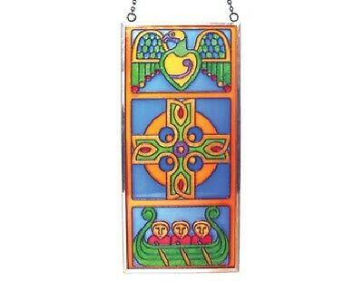 Celtic Travel Cross Stained Glass Panel.  Clara Crafts from Royal Tara