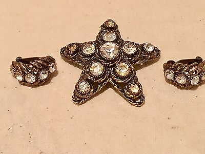 Vintage Big Har Gold Tone & Large Clear Star Starfish Pin Brooch & Earrings Set