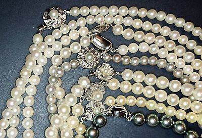 Akoya pearl necklace JAPAN Made 6-9mm silver $5000 real cultured SET of 8 white