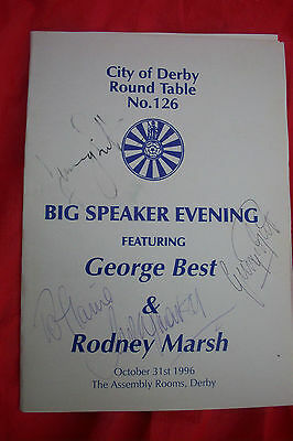 Signed George Best Manchester United European Cup & Rodney Marsh Jimmy Hill Menu