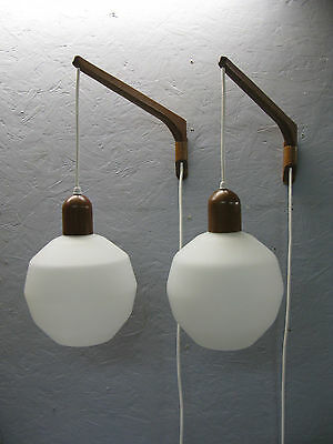 Teak And Glass Swing Arm Wall Pendant Lamps Pair