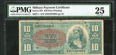 10 Dollar Military Payment Certificate Series 591 Pmg 25 Please Lqqk!