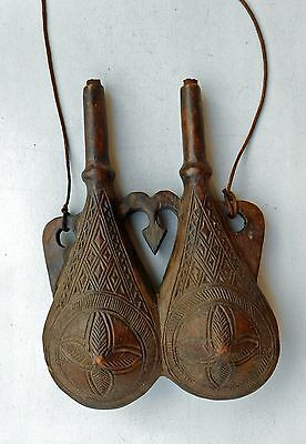 Old  Double Black Powder Flask Berbere Of Maghrib , Xix Century