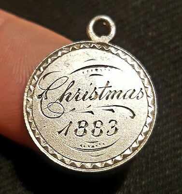 """STUNNING Silver Love Token DUALLY ENGRAVED """"Christmas 1883"""" w/ Initials Y or KMT"""