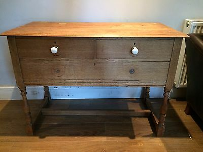 Antique Vintage Solid Wooden Dressing Table Chest Of Draws Storage