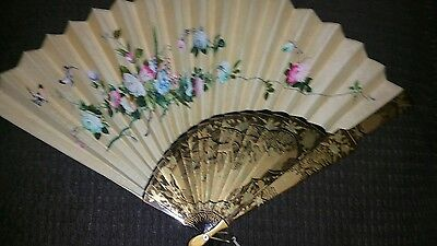 antique asian chinese embroidered fan